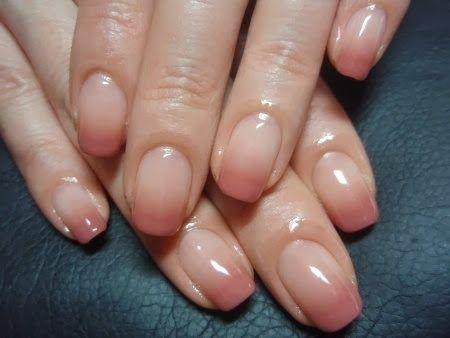 Subtle + shiny! Ombre nude acrylic overlay with LED polish nails.