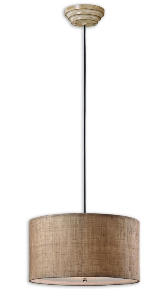 pendant lighting drum shade. three light antiqued burlap drum shade pendant lighting