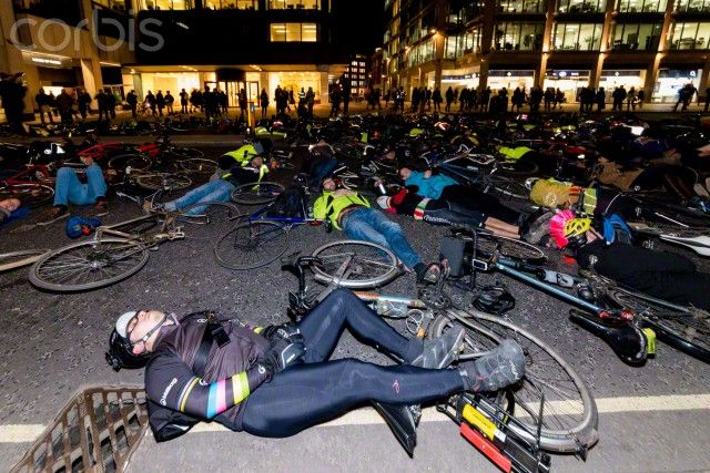 London: Cyclists protesting outside Westminster City Hall. The action was set up to commemorate the death of Claire Hitier-Abadie, who lost her life while cycling on Thursday 19th February at Victoria Street. (Credit Image: © Velar Grant/ZUMA Wire)