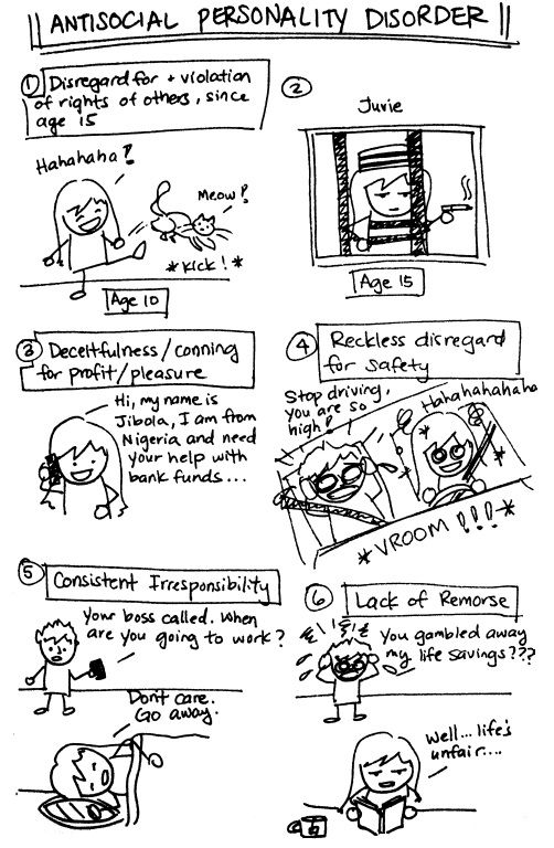 Antisocial Personality Disorder | With these cute little sketches, there's no need to ask for examples :P