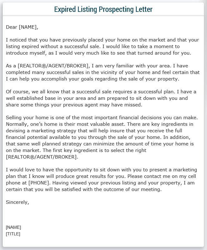 Expired Listing Prospecting Letter Sample! Real Estate