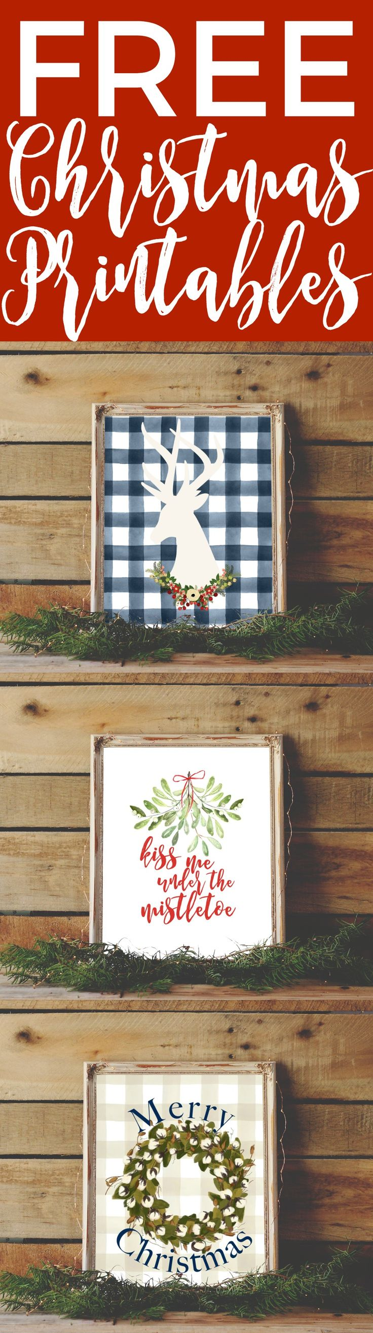 Grab 10 free Christmas printables to quickly decorate your house. Just use one or print off a bunch for a cute gallery wall!