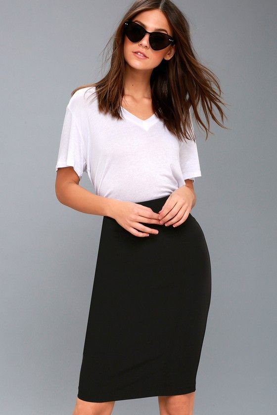 Lulus Exclusive! The Quincy Black Pencil Skirt is giving us some serious feels! Medium-weight stretch woven fabric shapes this figure-flaunting skirt with a high, fitted waist, and unique seam details. Midi-length hem, with kick pleat at back. Hidden back zipper/clasp.