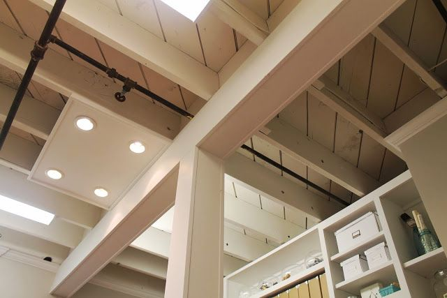 Exposed Basement Ceiling Lights : Exposed basement ceiling painted cream color dark pipes