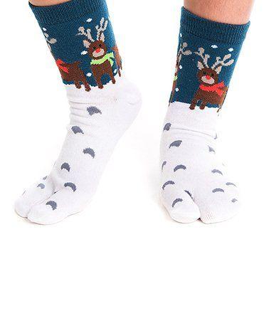 Love this Navy & White Reindeer V-Toe Tabi Socks on #zulily! #zulilyfinds