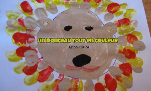 Bricolages enfants - Un lion coloré