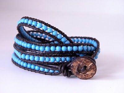 bracelet tutorial: Beads Bracelets Tutorials, Channing Luu, Jewelry Design, Diy Tutorials, Diy Jewelry, Crafts Night, Christmas Ideas, Leather Wraps Bracelets, Leather Bracelets