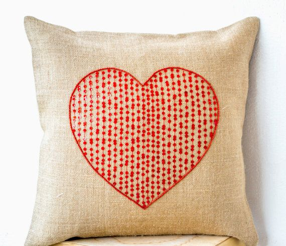 Burlap pillow with large sequin red heart by AmoreBeaute on Etsy