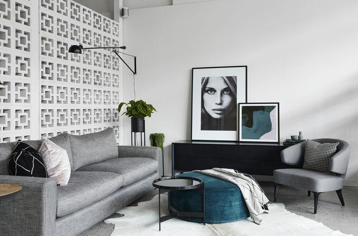Designer Flos Wall Pendant, Molmic Sofa & Ottoman, Temperature Design Armchair & Feel Good Designs Side Board.