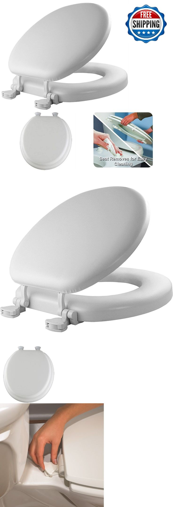 Toilet Seats 37637: Round Toilet Soft Seat Molded Wood Core Change Hinges White Cushioned Vinyl -> BUY IT NOW ONLY: $31.82 on eBay!