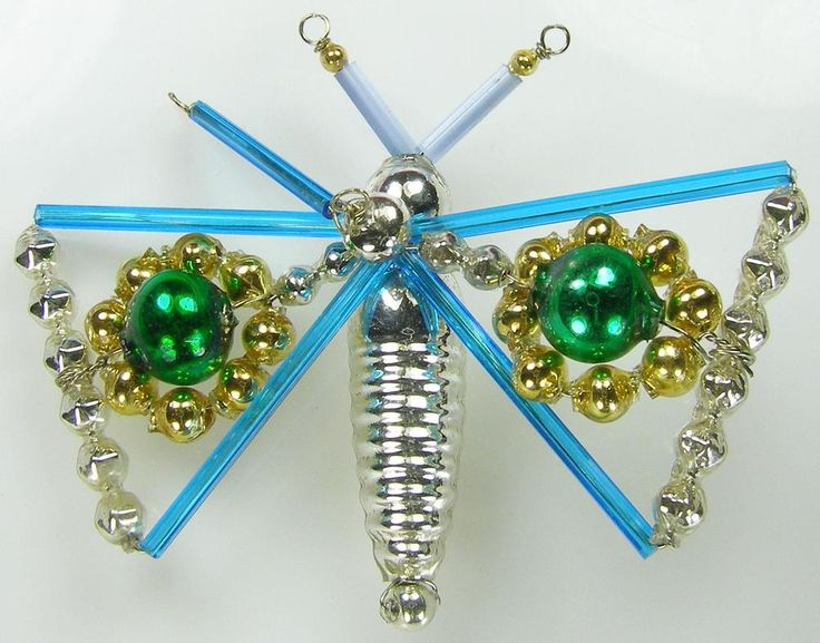 """Old Blown Hollow Glass Beads Wired Czech Christmas Decoration Azure Butterfly 3"""""""