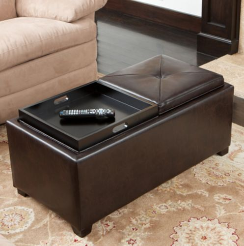 Leather Ottoman With Storage And Tray Coffee Table Stool Furniture Brown Marcus #Marcus