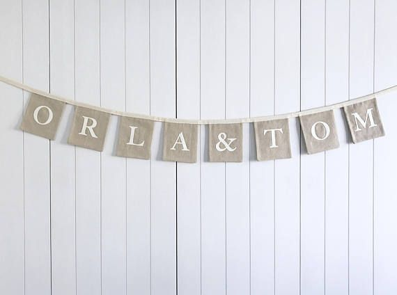 Personalised Name Wedding Bunting  Engagement Party Banner