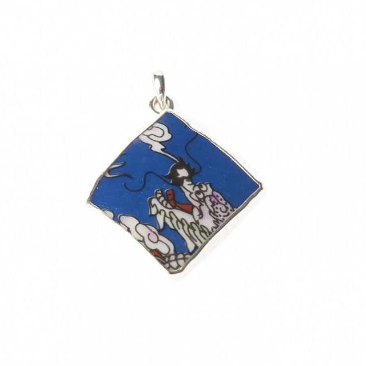 Lucky Buddha sieraden | Studio Art Styles | Hanger | Lucky Buddha Blue tile pendant | handmade in Nepal