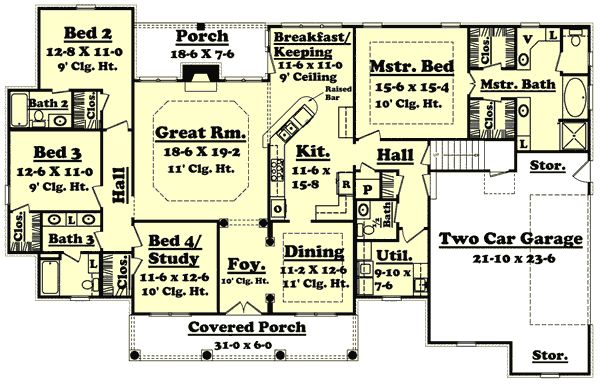 Country style house plans 2500 square foot home 1 story House plans 2500 sq ft one story
