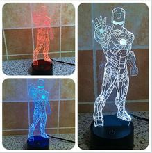 6 Pieces/lot 3D color changeable Avengers Iron Man Model LED Night Light USB 3D LED Mood Lamp For Children toys or Gifts