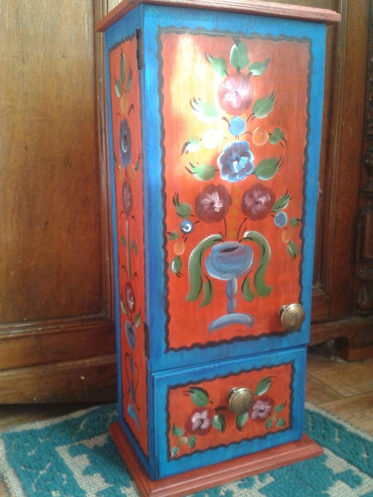 Wall cabinet for kitchen, spices, medicine chest, wooden painted, folk ethnic style by RussianStore on Etsy