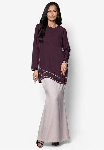 Baju Kurung Modern from Gene Martino in Purple