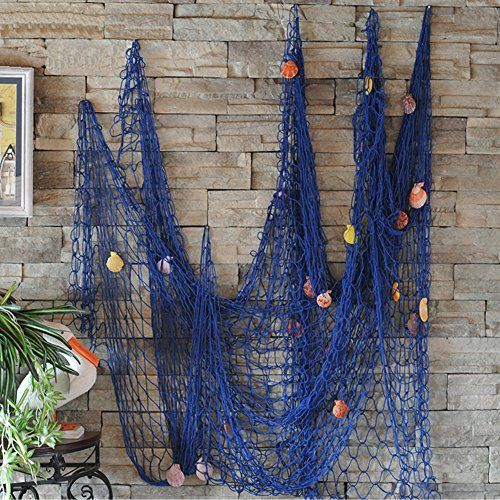 VEIOU Fish Net Decor Nautical Mediterranean Style Home Wall Decorative With Shells (Blue)  Material: Artificial cotton thread and shells fish net decoration  Size: Nautical decor approx78.7*59 inch. (200*150cm)  Suitable:Hotel,guesthouse,cafe,bookshop,home,restaurant,party,garden or beach bashes ect  Home Decor: With our decorative nautical fish net you will be able to create a new decoration style in your house, giving you a lazy and romance mood,very unique decorative items for home ...