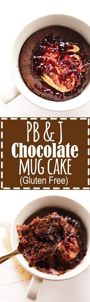 Peanut Butter and Jelly Chocolate Mug Cake - A single serve cake recipe that is made in the microwave! Rich, moist, chocolate cake with a peanut butter & jelly center! SO YUM! Gluten Free. | robustrecipes.com