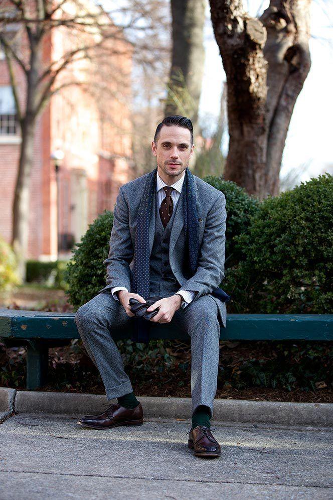 Grey Tweed Three Piece Suit
