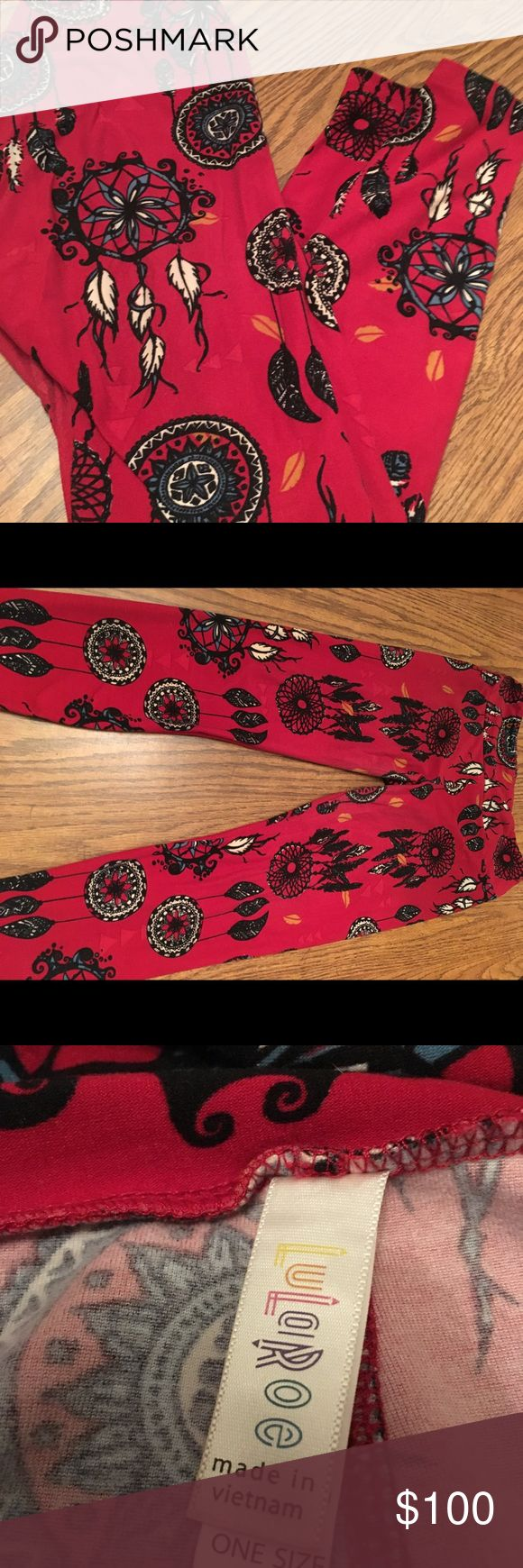 ❗️ALERT❗️MAJOR Unicorn for sale! FYI: I am not a LuLaRoe Consultant. So my prices will be different. Please no rude comments! I paid over 100$ for these on Posh.   Slight ware in the crotch area. Not noticeable at all. See pictures. Beautiful deep red back ground! Beautiful dream catchers! These are to die for! Major RARE unicorn! Price is firm. LuLaRoe Pants Leggings