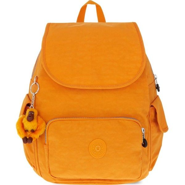 KIPLING City small backpack ($105) ❤ liked on Polyvore featuring bags, backpacks, sunset yel, nylon backpack, reversible backpack, monkey bag, reversible bag and zip bags