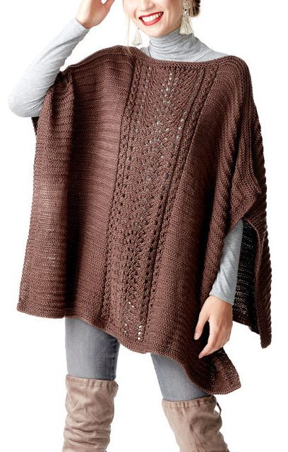 Free Knitting Pattern for Easy 4 Row Repeat Lace Panel Poncho - This poncho is knit with a 4 row repeat that includes the lace stitch panel, ridge stitch side panels, and borders. Knit in 2 rectangles and seamed. Designed by Caron Design Team
