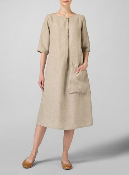 Linen Long Center Pleated Dress For woman who want current, flattering fashion that complements a breeze go-to life style.