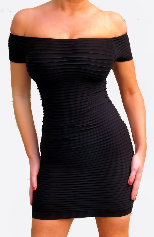 c3fdd41ff9ee Sexy Black Off Shoulders seamless Textured Stretchy Micro Mini Dress O S  New  Musa ...