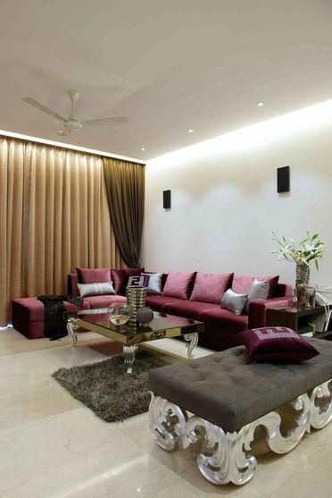 Large Living Room With Tufted Bench Design By Arbaysis Ashley Architect In Mumbai