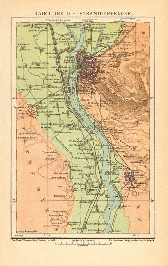 1905 Original Antique Dated Map Of Cairo And The Pyramids Sakkara
