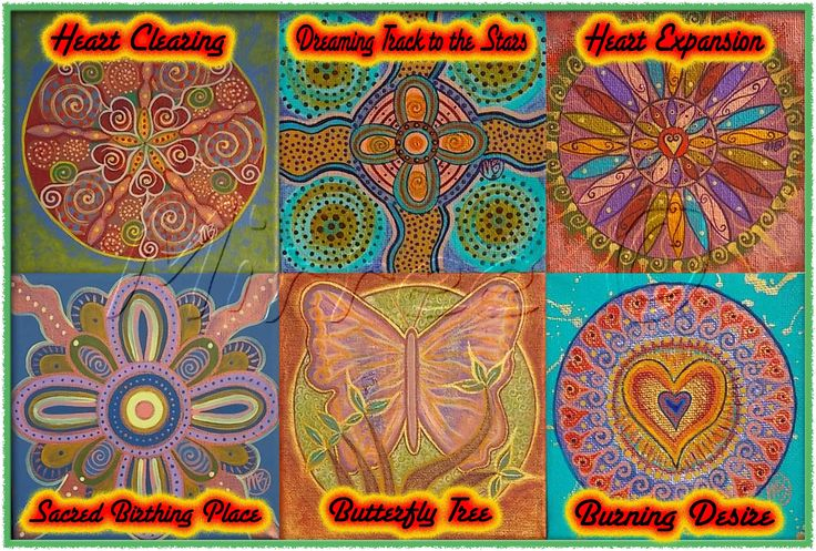 Heart Cleansing, Dreaming Track to the Stars, Heart Expansion, Sacred Birthing Site, Butterfly Tree & Burning Desire.