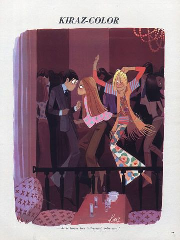 Edmond Kiraz 1971 Dancer, Party, Hippie Fashion Style illustrated by Edmond Kiraz | Hprints.com