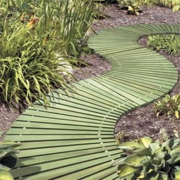 Curved wooden walkway use this garden walkway to create a meandering path through your yard - Garden wooden walkways ...
