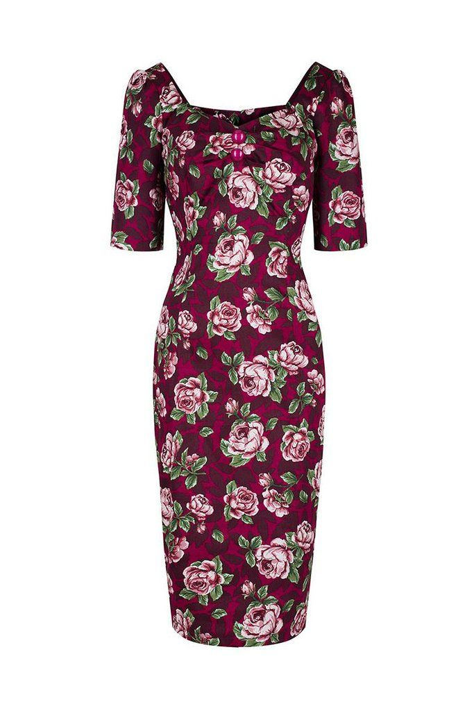 Collectif Burgundy Red Floral Print Wiggle Dress