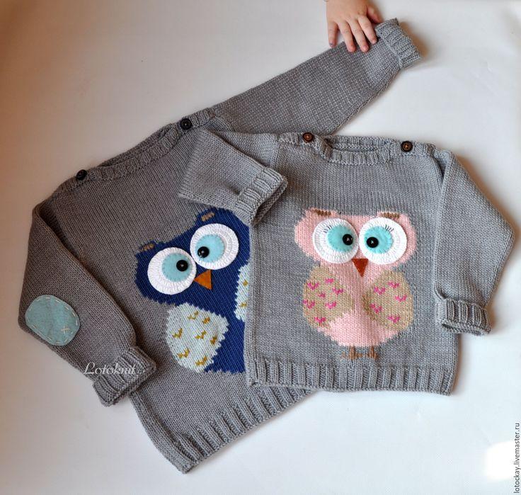 Купить Пуловер с Совой для детей - пуловер, пуловер детский, свитер, свитер вязанный, свитер детский