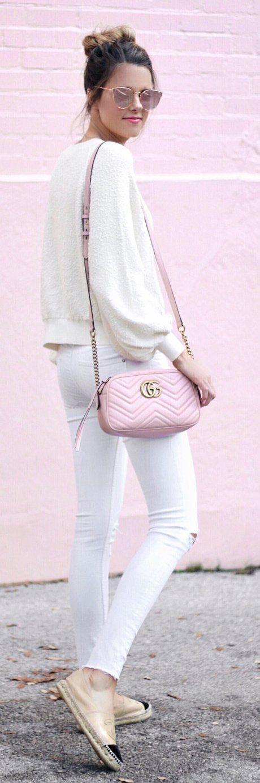 #spring #fashion Cream Knit & Pink Leather Shoulder Bag & White Skinny Jeans & Beige Pumps