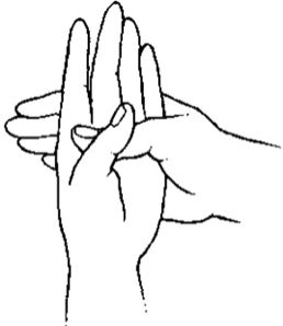 """Naga Mudra:  deep insight, supernatural strength, wisdom, shrewdness, potency, and problem solving.  Say Hamsa Prayer while holding Naga Mudra:  """"Let no sadness come through my gates, let no trouble enter my heart, let no conflict be in my mind, let my life be filled with the blessings of joy and peace."""""""
