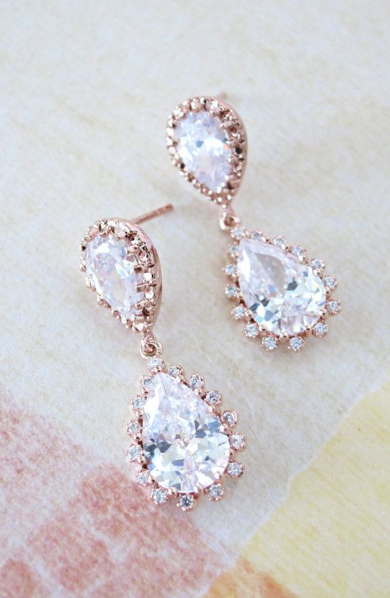 Deluxe Rose Gold Cubic Zirconia Teardrop Earrings - gifts for her, bridal gifts, pink rose gold weddings jewelry, bridesmaid earrings, by ColorMeMissy, www.colormemissy.com