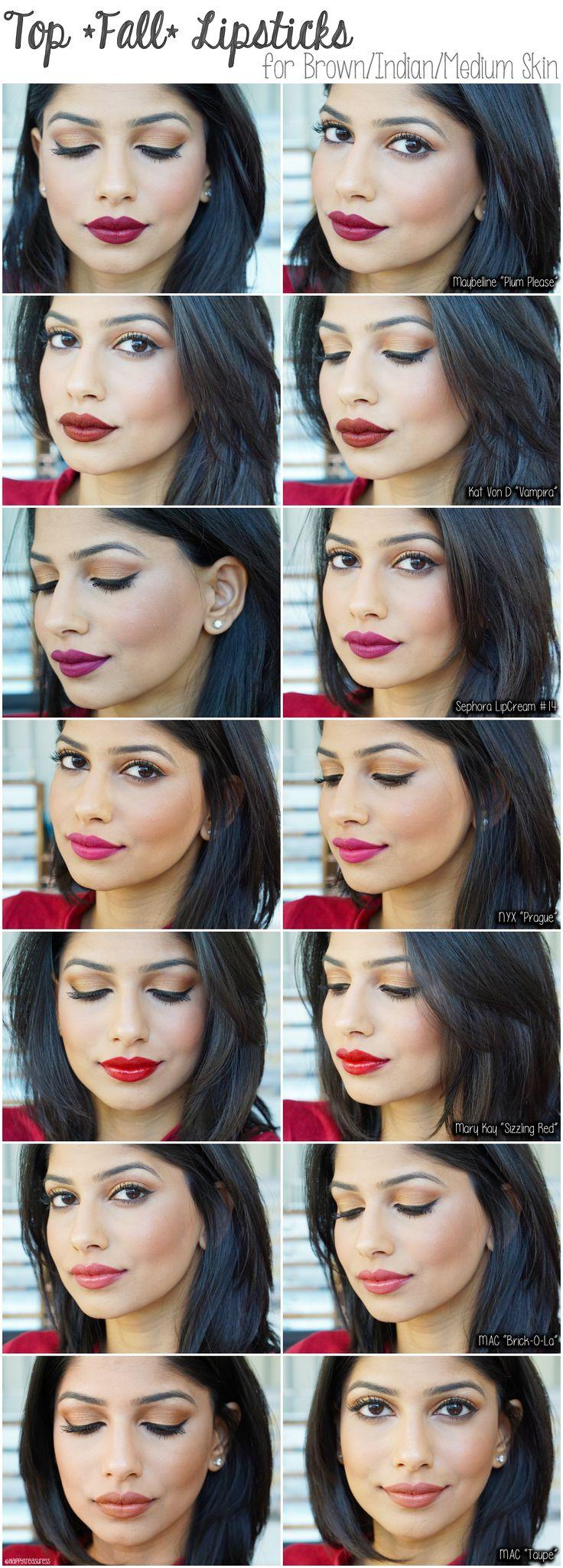 fall lipsticks for brown/medium/indian skin. favorite fall lipsticks for indian skin. MAC Taupe lipstick, MAC Brick O La, Kat von D Vampira