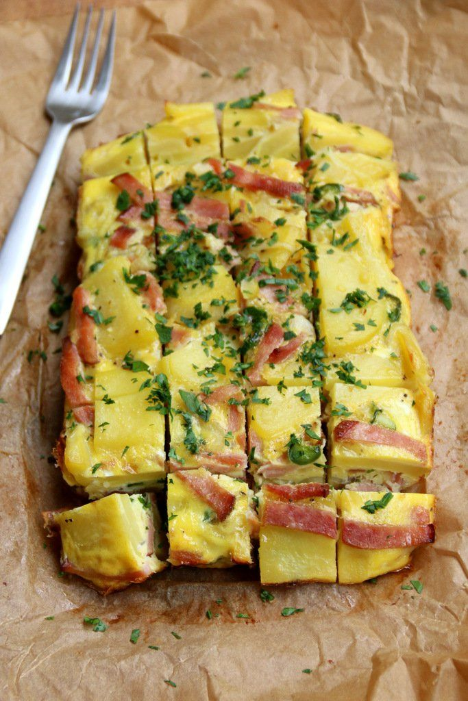 Baked Spanish style tortilla with ham