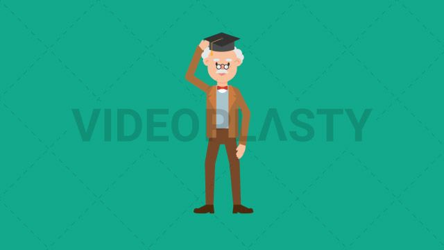 An older professor with gray hair wearing a brown suit is standing while wearing a black graduation hat showing it off and showing thumbs up with his hand Two versions are included: normal (with a start animation) and loopable. The normal version can be extended with the loopable version Clip Length:10 seconds Loopable: Yes Alpha Channel: Yes Resolution:FullHD Format: Quicktime MOV