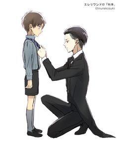 Levi as Sebastian and Eren as Ciel! But in black butler, Ciel slaps Sebastian....