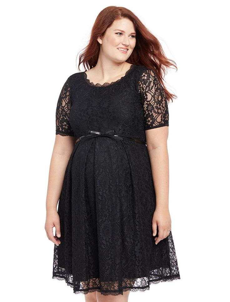 Motherhood Plus Size Belted Lace Maternity Dress ** See this great image  : Plus size maternity