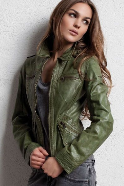 Green Leather Jackets For Women VuOuXt