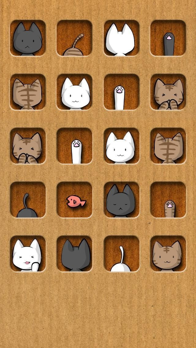 Love the layout and dimension of this artwork! See a whole series with dogs, cats, and birds :-) iPhone brown background and cute cats icon wallpaper