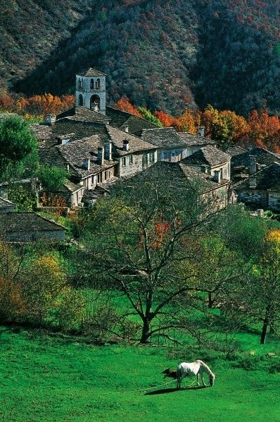 One of the most beautiful places in Greece, Zagori. It is a region and a municipality in the Pindus mountains in Epirus containing 46 picturesque villages known as Zagoria (or Zagorochoria or Zagorohoria).