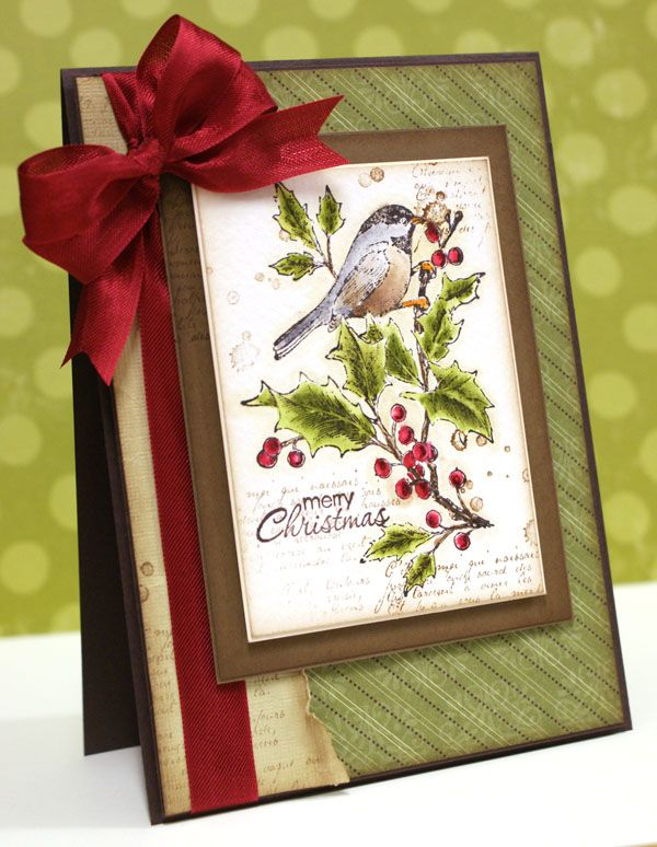 The torn page adds the perfect touch to this lovely Christmas card.