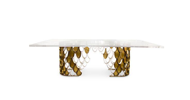 KOI Rectangular Dining Table Contemporary Design by BRABBU fits in any modern home decor. Find more here: https://www.brabbu.com/en/casegoods/koi-dining-table-2/